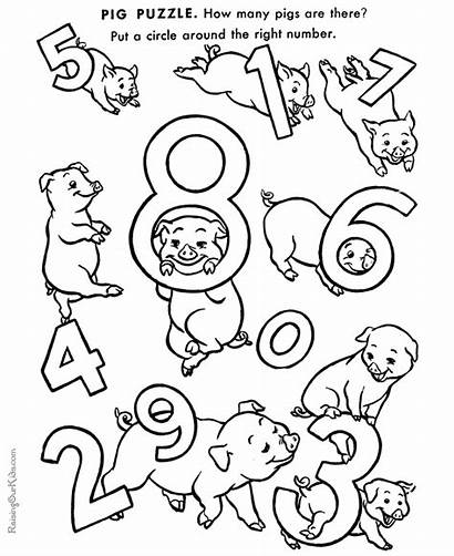 Preschool Printables Coloring Pages Numbers Learning Worksheets