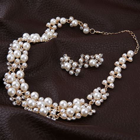 pearl gold plated simple elegant bridal necklace earring