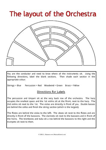 instruments of the orchestra worksheets layout of the orchestra by elocvo teaching resources tes