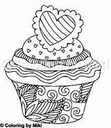 Cupcake Coloring Zentangle Pdf Coloringbymiki sketch template