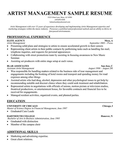 artist resume exles artist resume sle writing guide