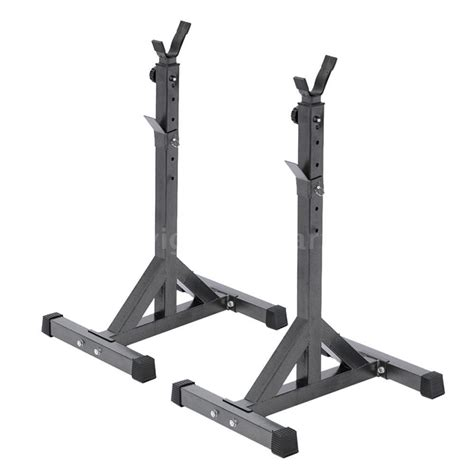 Portable 2x Squat Rack Stand Barbell Bench Press Home Gym