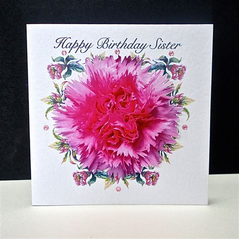 pink carnation happy birthday sister card decorque cards