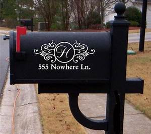 vinyl mailbox lettering decoration decal sticker x2 for With mailbox letters