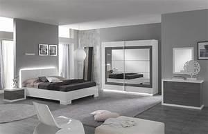 miroir ancona bicolore laque blanc gris chambre a coucher With miroir chambre a coucher