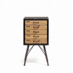 Petit Meuble Metal : meuble de rangement vintage bois et m tal 5 tiroirs refe ~ Teatrodelosmanantiales.com Idées de Décoration