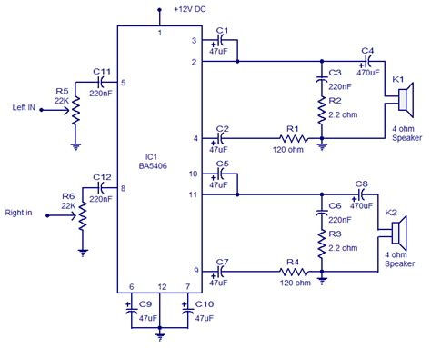 watt ba stereo amplifier operates   dc