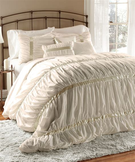 ivory ruched comforter set modern comforters and