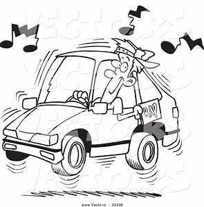 vector of a cartoon man blaring rap music in his car With car audio design