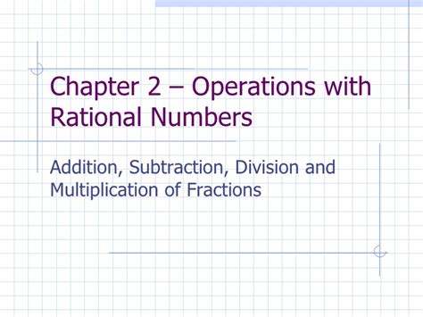 Chapter 2 Operations With Rational Numbers