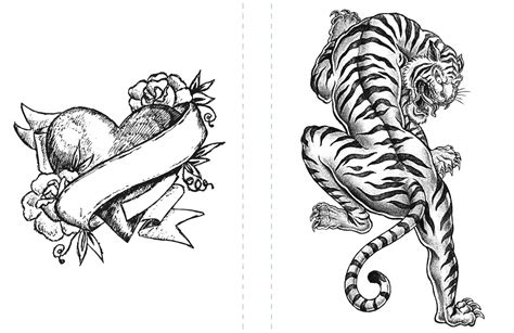 tattoo coloring pages heart  tiger coloringstar