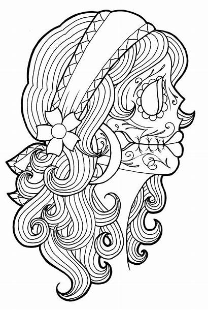 Coloring Pages Skull Adult Sheets Tattoos Dead
