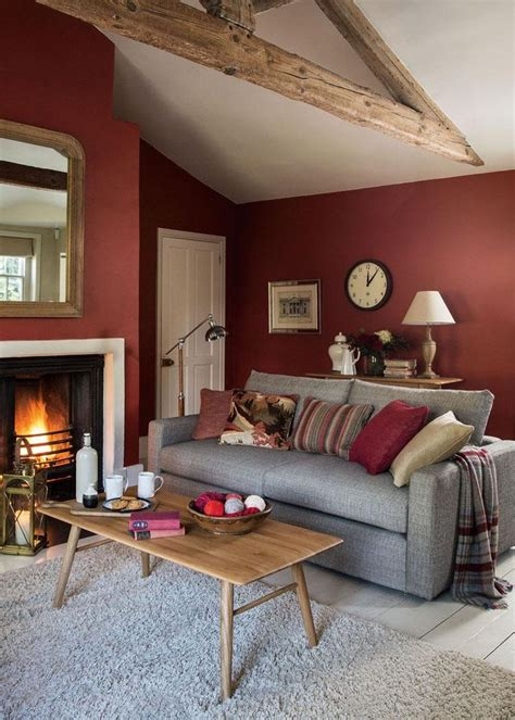 Grey And Red Walls Living Room  Wwwimgkid The
