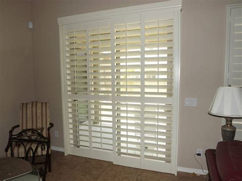 Shutters For Sliding Glass Doors by Sliding Glass Door With The Plantation Shutters Closed But