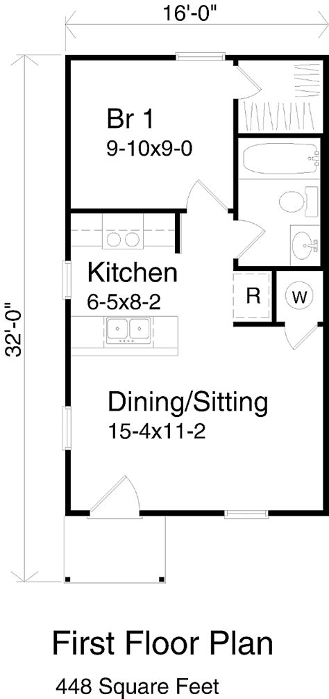apt size stove cottage style house plan 1 beds 1 baths 448 sq ft plan