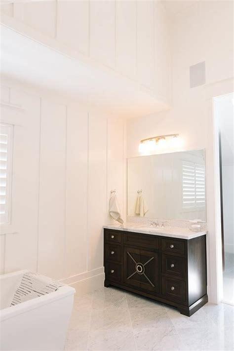 espresso bathroom vanity  diamond pattern marble floors