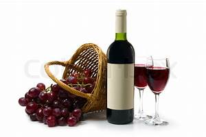 Two glasses with red wine on a white background. A dark ...