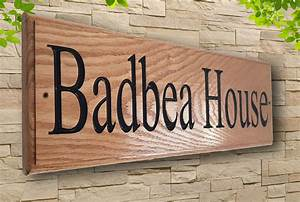 Personalised, Carved, Oak, Pine, House, Name, Wooden, Sign, Address, Plaque, Outdoor