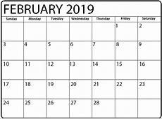 Daily Calendar February 2019 2018 Printable Calendar Store
