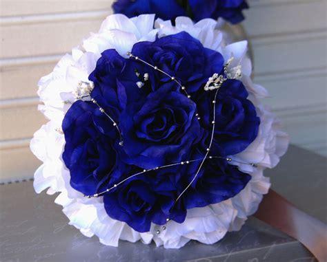 4 Bouquets Royal Bluewhite Silver Gray Wedding Silk