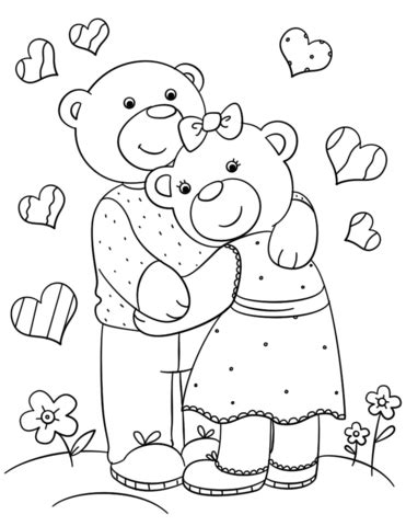 cute bears hugging coloring page free printable coloring