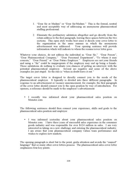 Cover Letters For Pharmaceutical Sales by Pharmaceutical Sales Cover Letter Free