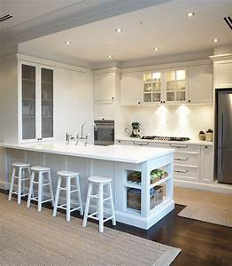 Provincial Kitchen  Provincial  White  Bar Stools  Downlights  French Provincial Kitchen Handles