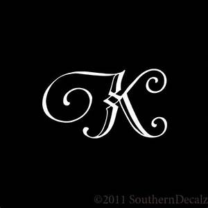monogram script font initial letter k decal sticker 24 With script letter decals