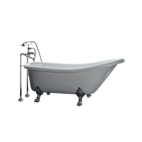 5 foot tub all in one 5 5 ft acrylic chrome clawfoot slipper tub in