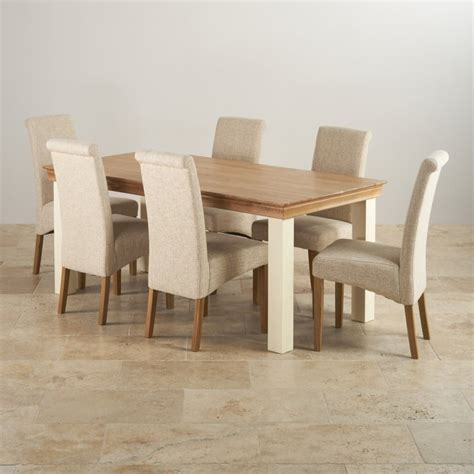 country cottage oak 6ft dining table with 6 beige chairs
