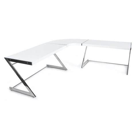 bureau d angle en bois bureau d 39 angle design tutti en bois laqué et métal chromé