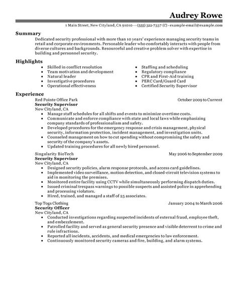 security supervisor resume exles enforcement