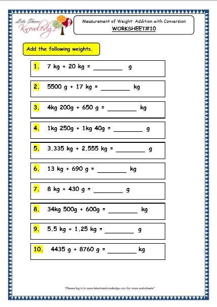 weight worksheets grade 2 grade 3 maths worksheets 12 1 measurement of weight