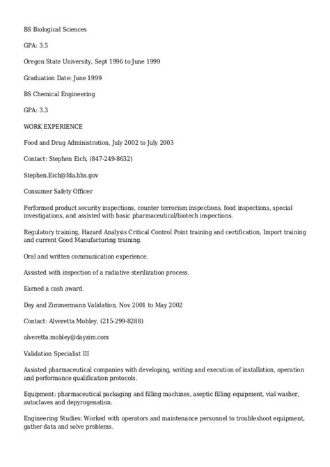 Food Science Major Resume by Detailed Professional Resume For Chris Harding Chemical