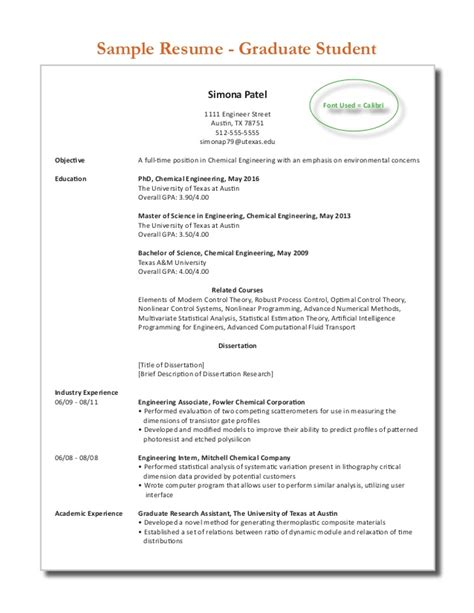 Resumes For Graduate Students by Sle Graduate Student Resume 2013 2014