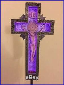 VINTAGE 30's NEON JESUS CRUCIFIX FUNERAL CROSS RARE SIGN