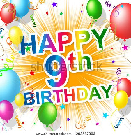 Happy 9th Birthday Images 9th Birthday Stock Images Royalty Free Images Vectors