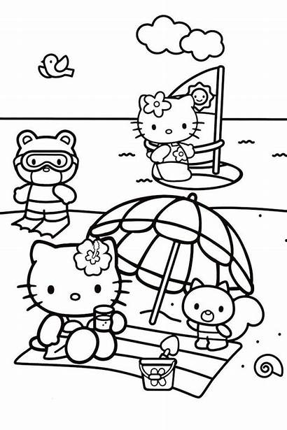 Coloring Beach Pages Kitty Hello Scenes Activities