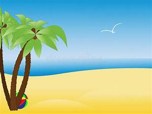 Scene With Empty Tropical Beach, Palm Trees Stock Vector ...