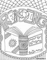 Reading Library Coloring Classroom Doodles sketch template