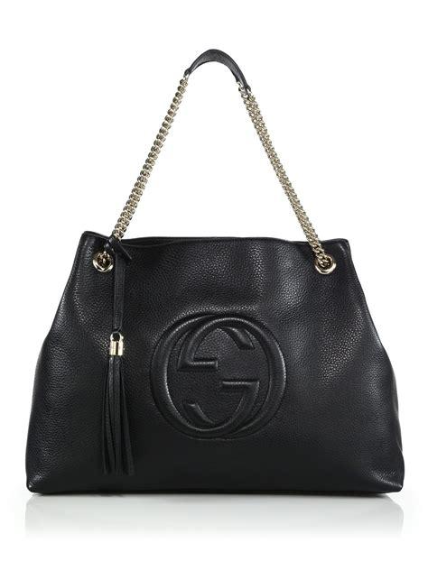lyst gucci soho leather large shoulder bag  black