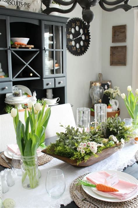 spring decorations   dining room clean