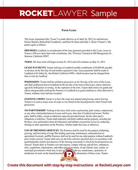 Farm Partnership Agreement Template by Farm Lease Agreement Template Farm Lease Form With Sle