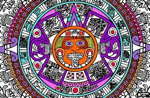 aztec sunstone coloring page, printable aztec sunstone