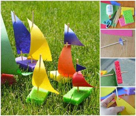 sponge sailboat craft for easy peasy and 126 | Sailboat craft for little ones