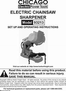 Chicago Electric Chainsaw Sharpener Replacement Parts