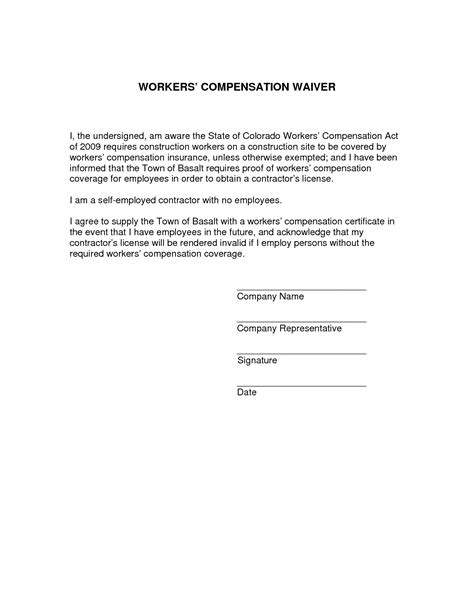 workers compensation exemption letter best photos of workers compensation waiver form 13826