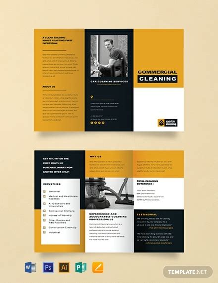commercial cleaning brochure template word psd