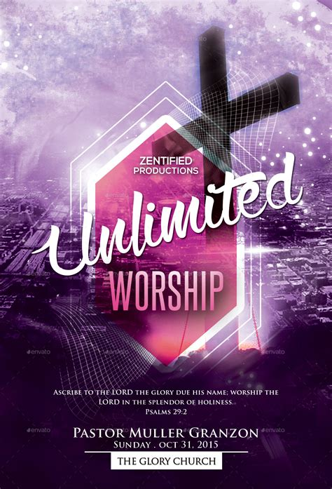 unlimited worship flyer  zentify graphicriver