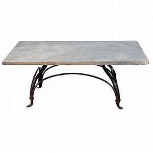 Wrought iron and stone garden coffee table at 1stdibs for Stone and iron coffee table